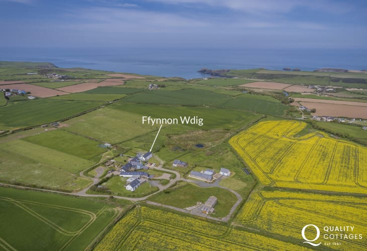 Aerial shot of location of Ffynnon Wdig