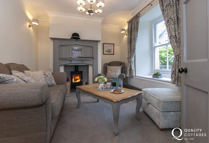 Fishguard Pembrokeshire holiday cottage - cosy sitting room with wood burning stove