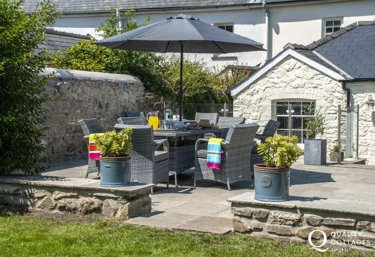 Strumble Head cottage with rattan garden furniture