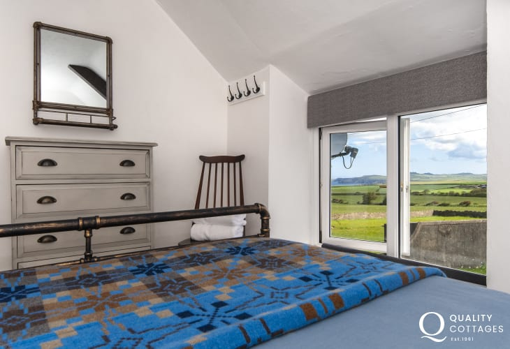 Views over the countryside to Strumble Head beyond from the double bedroom