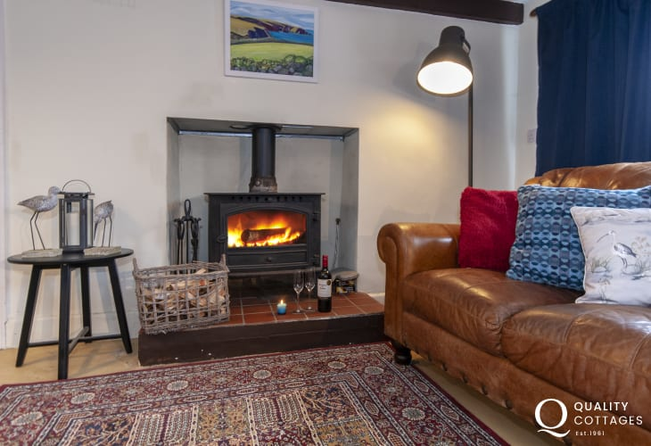 Rural North Pembrokeshire holiday cottage - sitting room with wood burning stove