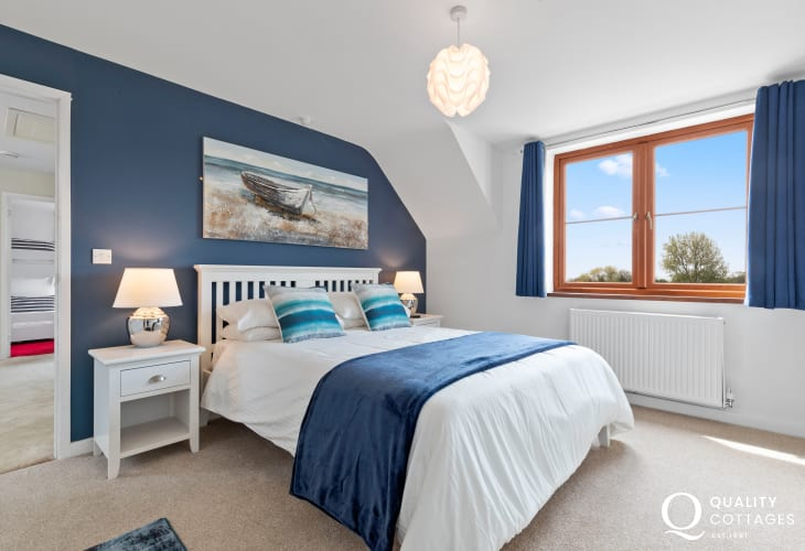 Tenby's North beach within walking distance - master double bedroom, high quality bed linen