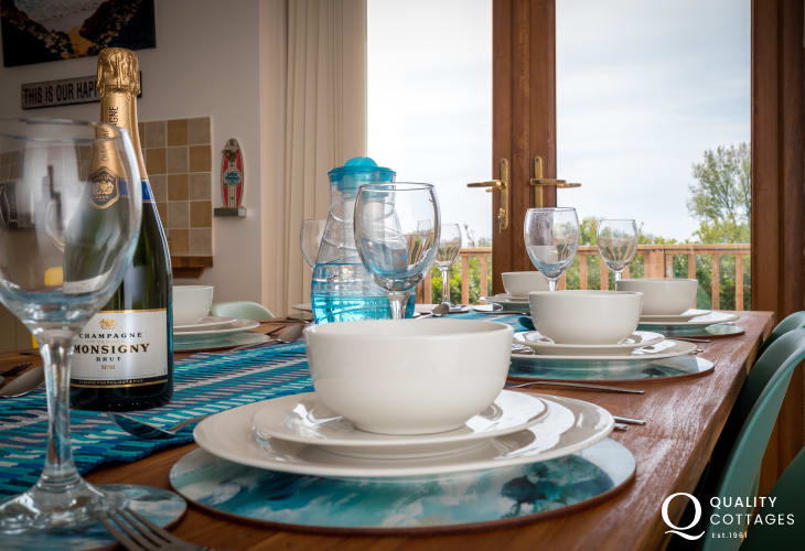 Stunning views across to Caldey Island - dining table seating for 8