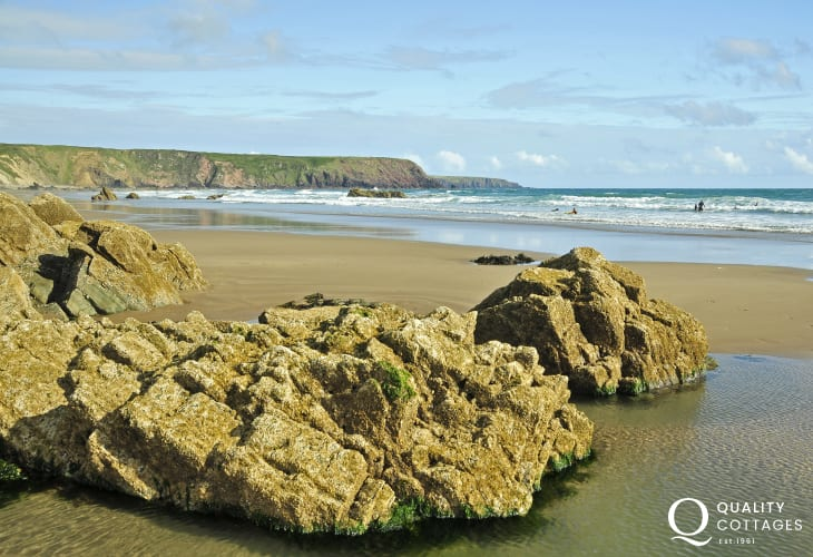 Marloes Beach (National Trust) - a huge expanse of sand at low tide with interesting rock and cliff formations