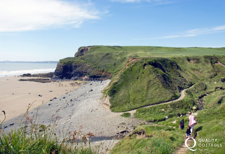 Druidstone Haven- a large sandy beach, accessed by a footpath, with huge cliffs, caves and rock pools at low tide.