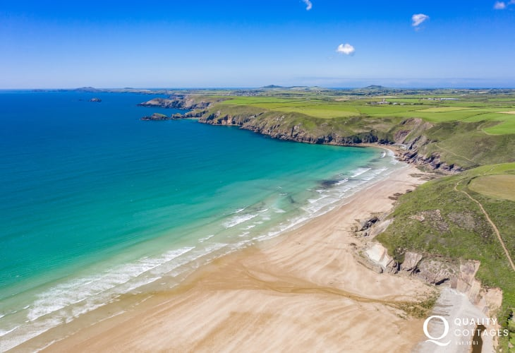 Newgale Beach (Blue Flag) is a stunning stretch of golden sand just a short drive away