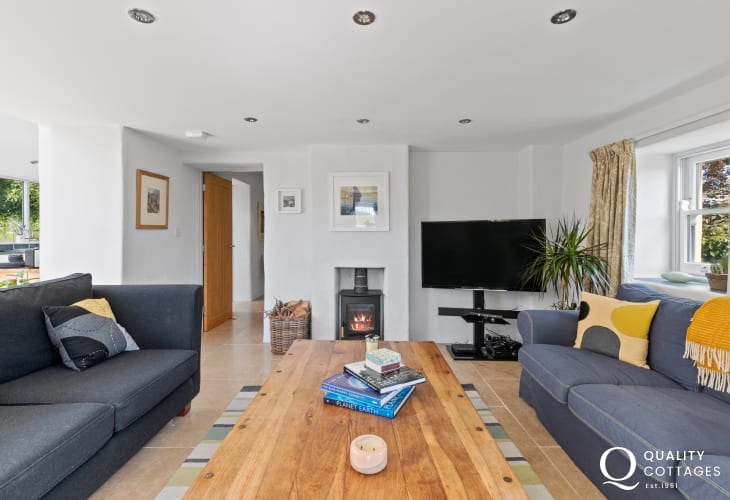 Solva, holiday cottage on the Pembrokeshire coast - sitting room with wood burning stove