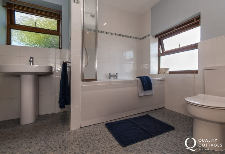 North Pembrokeshire holiday cottage - ground floor family bathroom with shower over