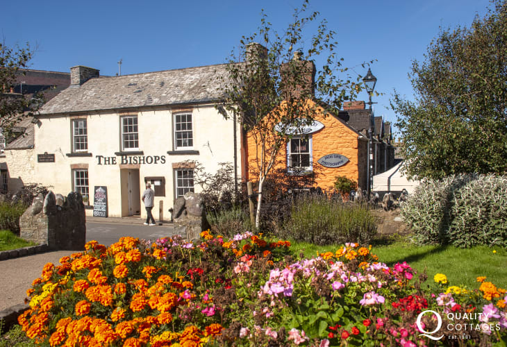 The Bishops, St Davids offers a Welsh seasonal menu in a rustic interior and has a large dog friendly beer garden