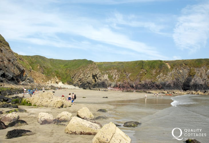 Caerfai - a lovely sheltered pet friendly beach great for rock pooling at low tide