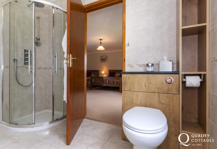 Solva holiday cottage - large ensuite family bathroom with separate shower