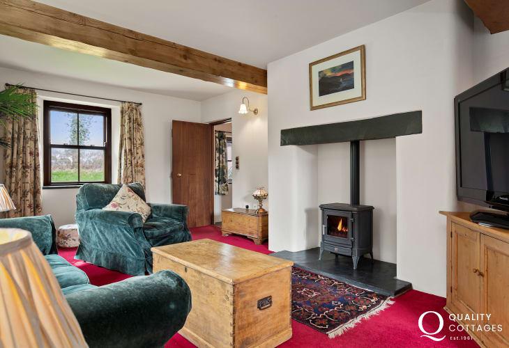 Log burner inside cottage in Pembrokeshire