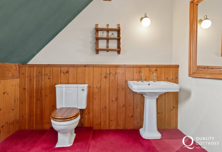 Toilet and Washbasin of a bathroom in a cottage in Pembrokeshire