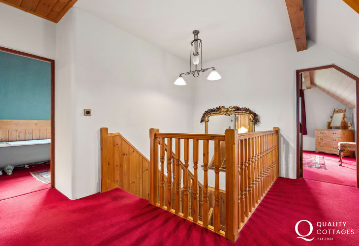 Upstairs staircase in a holiday cottage nearby Tenby, Pembrokeshire