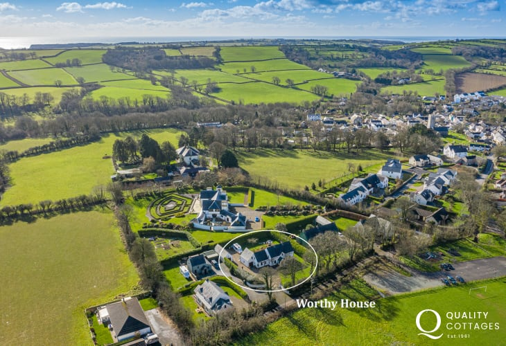 Birds eye view of holiday cottage in St Florence