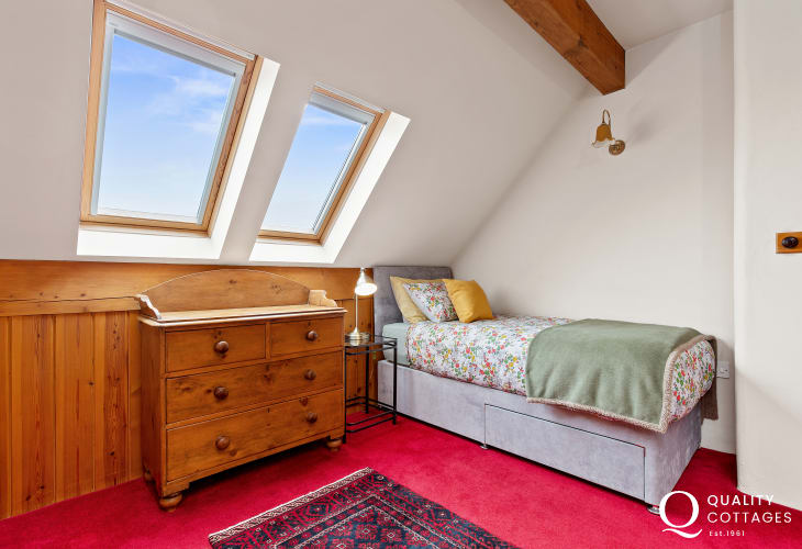Single bedroom with skylight in Worthy House, Pembrokeshire