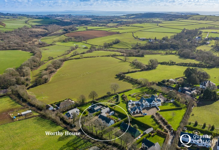 Birds eye view of holiday homes in Pembrokeshire