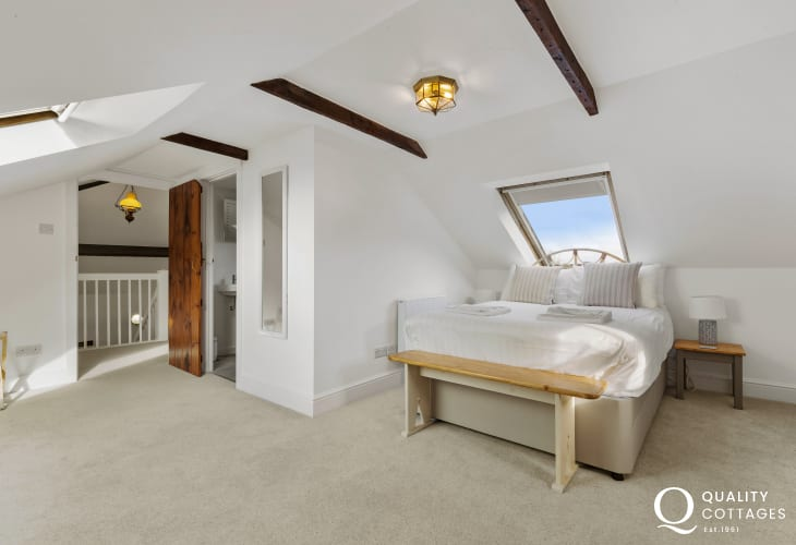 Master Bedroom with double bed and En-Suite shower room, sea views