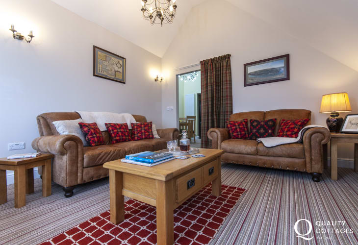 St Davids luxury holiday apartment - sitting room with 'Juliet balcony' and study area