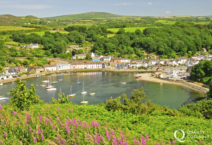 'Marine Walk' overlooks Lower Town Harbour in Fishguard