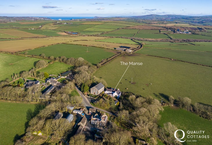 Aerial view of luxury holiday cottage in quiet hamlet in Pembrokeshire on the St Davids Peninsula, sleeps 15 people.