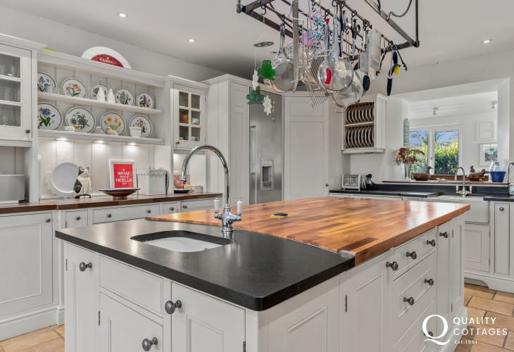 Luxury farmhouse style kitchen with island - holiday house on  St. Davids Peninsula, Pembrokeshire, sleeps 15 guests.