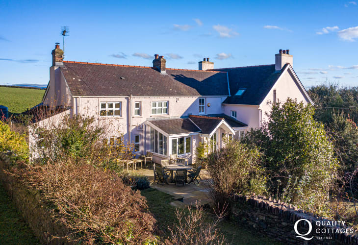 Exterior view of luxury holiday cottage in Pembrokeshire, on the St Davids Peninsula. Dog friendly, with enclosed garden.