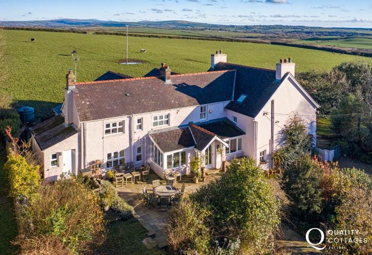 Exterior of large luxury holiday house on the St. Davids Peninsula, Pembrokeshire - sleeps 15.