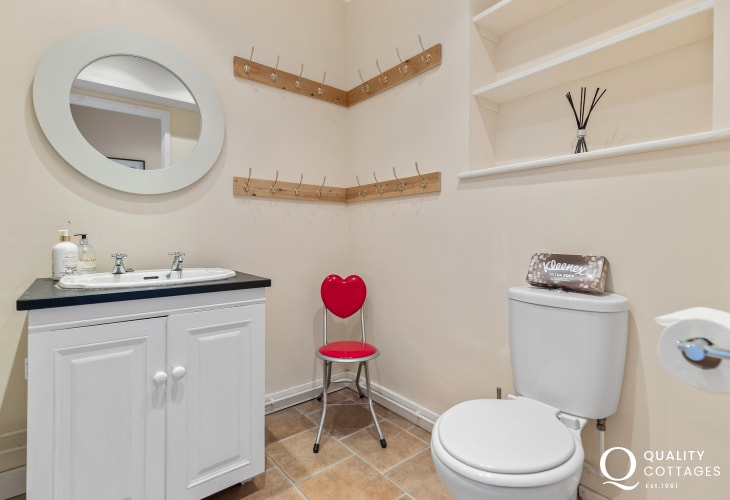 Holiday cottage on the St Davids Peninsula, Pembrokeshire - downstairs WC, wash basin and heated towel rail.