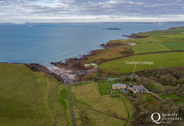 Aerial view of location of cottage holiday