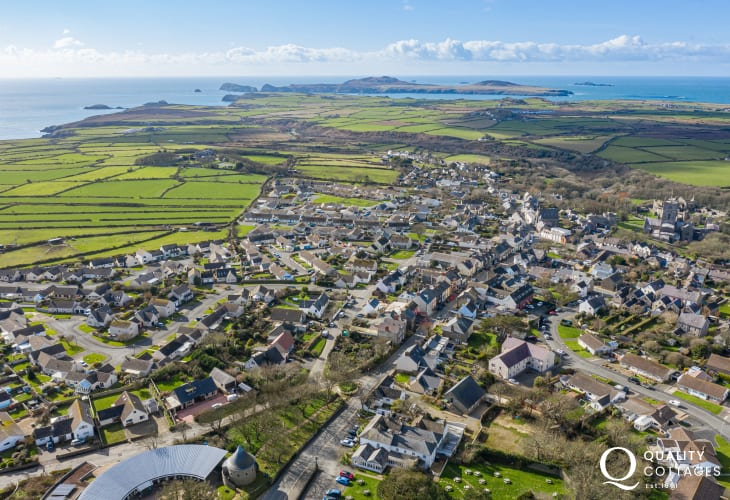 Aerial shot of St David's with the coastline in the background.  Walk to the coastline in less then 10 minutes.