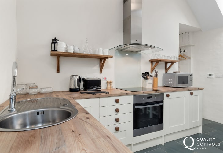 Well appointed kitchen in converted barn holiday cottage in Clynderwen, Pembrokeshire, near Preseli Hills. Dog friendly.