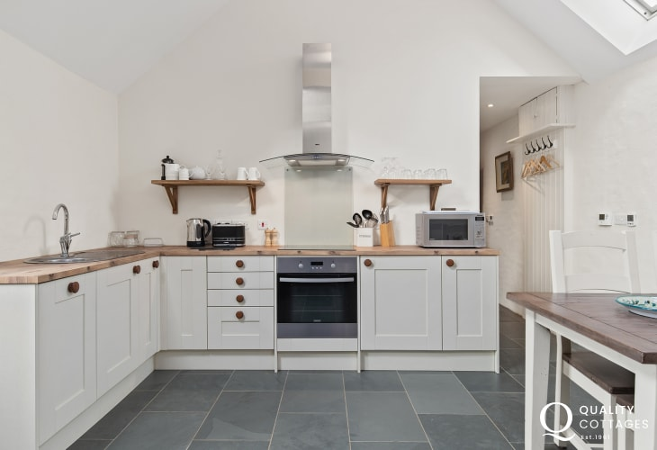 Open plan kitchen / dining room of holiday cottage near the Preseli Mountains, Pembrokeshire. Sleeps four.