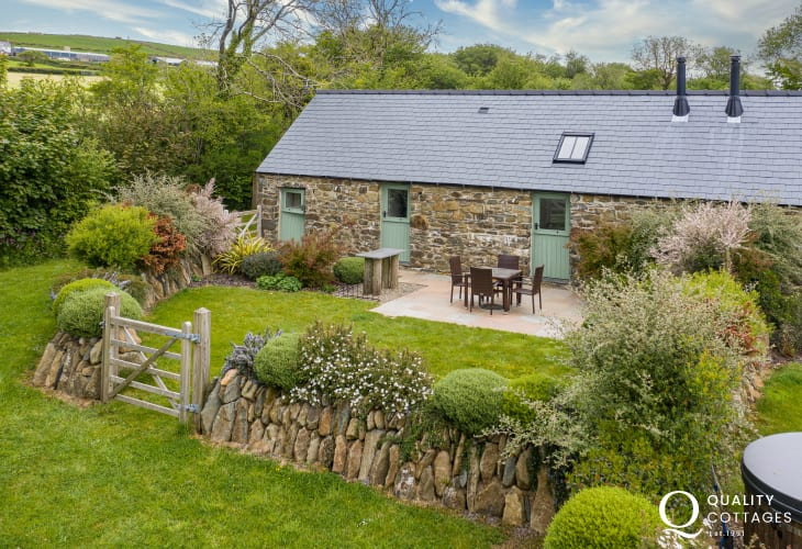 Exterior view of 'The Milking Parlour' holiday cottage in the Preseli Hills, Pembrokeshire.
