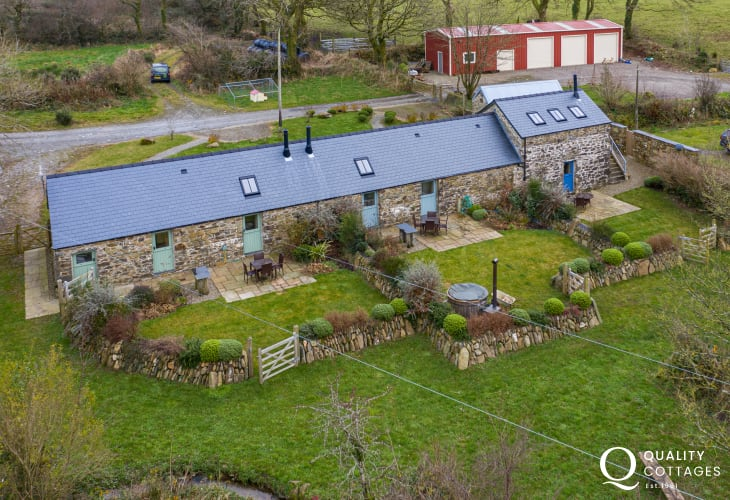 Aerial view of dog friendly converted barn holiday cottage in Pembrokeshire countryside, near Preseli Mountains. Sleeps four.