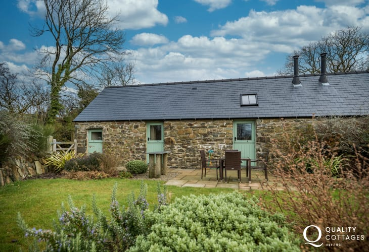 Exterior view of 'The Milking Parlour' holiday cottage in Rhosfach, Clynderwen, Pembrokeshire countryside. Sleeps four.