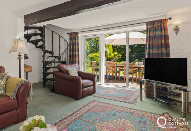 Plas Newydd, a large, spacious and luxury holiday home with a spiral staircase