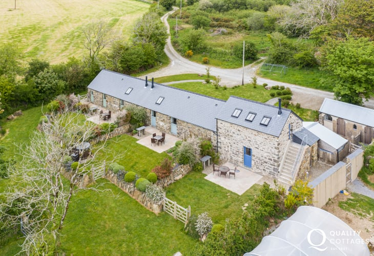 Aerial view of the mill and neighbouring cottages