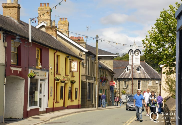 Newcastle Emlyn town centre with independent shops and cafes