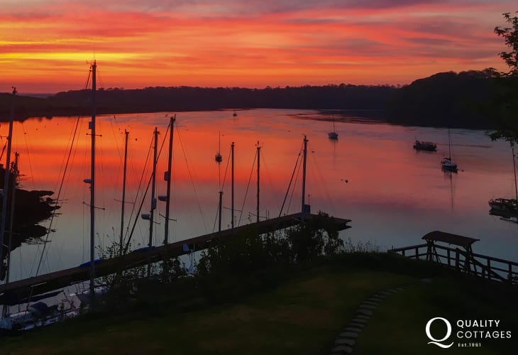 Sunset view from Badger Cottage across the Haven Waterway, Pembrokeshire.