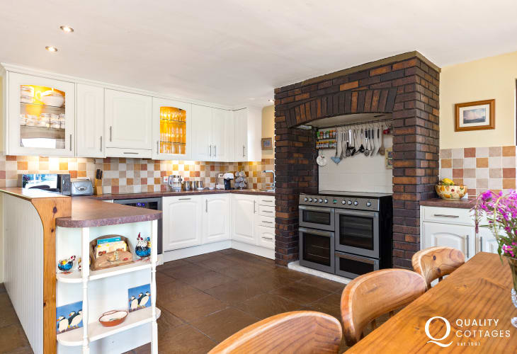 Large kitchen in waterside holiday home Pembrokeshire