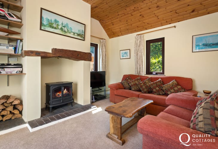 Snug living room with log burner and television.