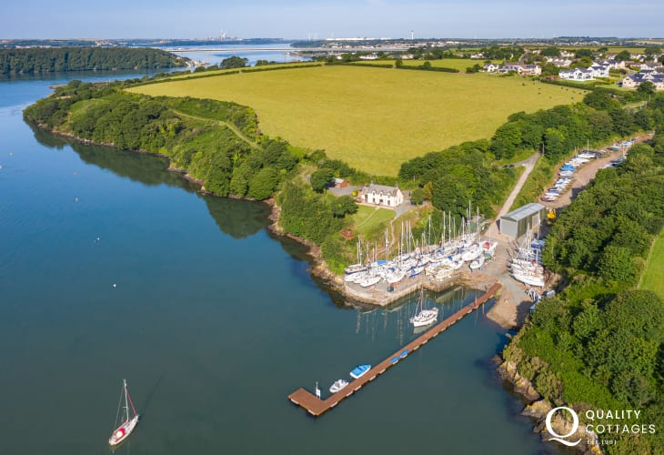 Aerial shot of holiday home by the river in Pembrokeshire