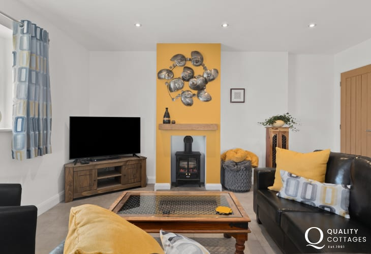 Holiday cottage with sea views over Cardigan Bay - stylish lounge area with TV, DVD player and Freeview.