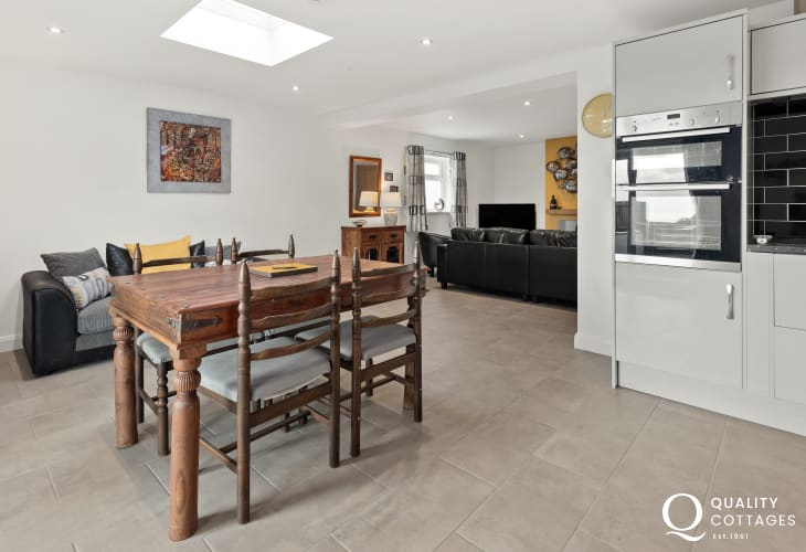 Contemporary holiday cottage with open plan layout in Pwllheli, North Wales.