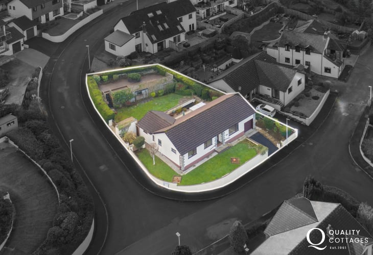 Aerial View of holiday cottage bungalow with large garden and private parking in Saundersfoot, near Tenby.