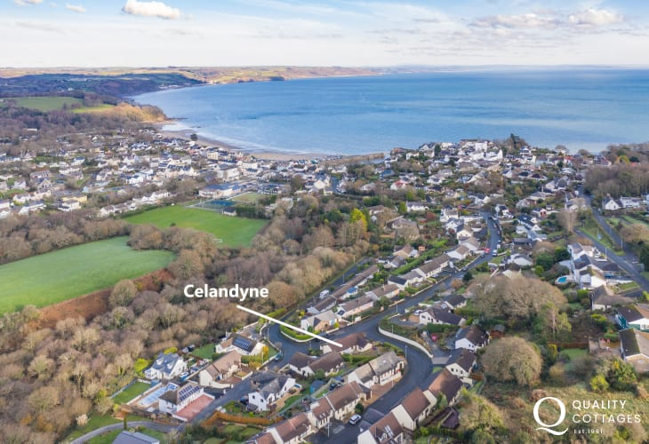 Aerial View of Celandyne holiday cottage in Saundersfoot, Pembrokeshire.