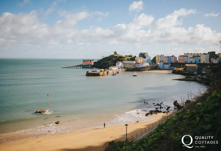 View of Tenby Harbour and the golden sands of Tenby North Beach