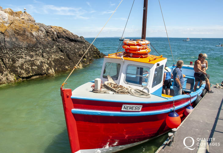 Boat trips are available locally to Caldey Island.