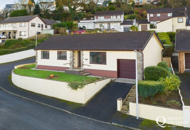 Aerial Exterior view of dog friendly Celandyne holiday cottage in Saundersfoot, with private parking and enclosed garden.